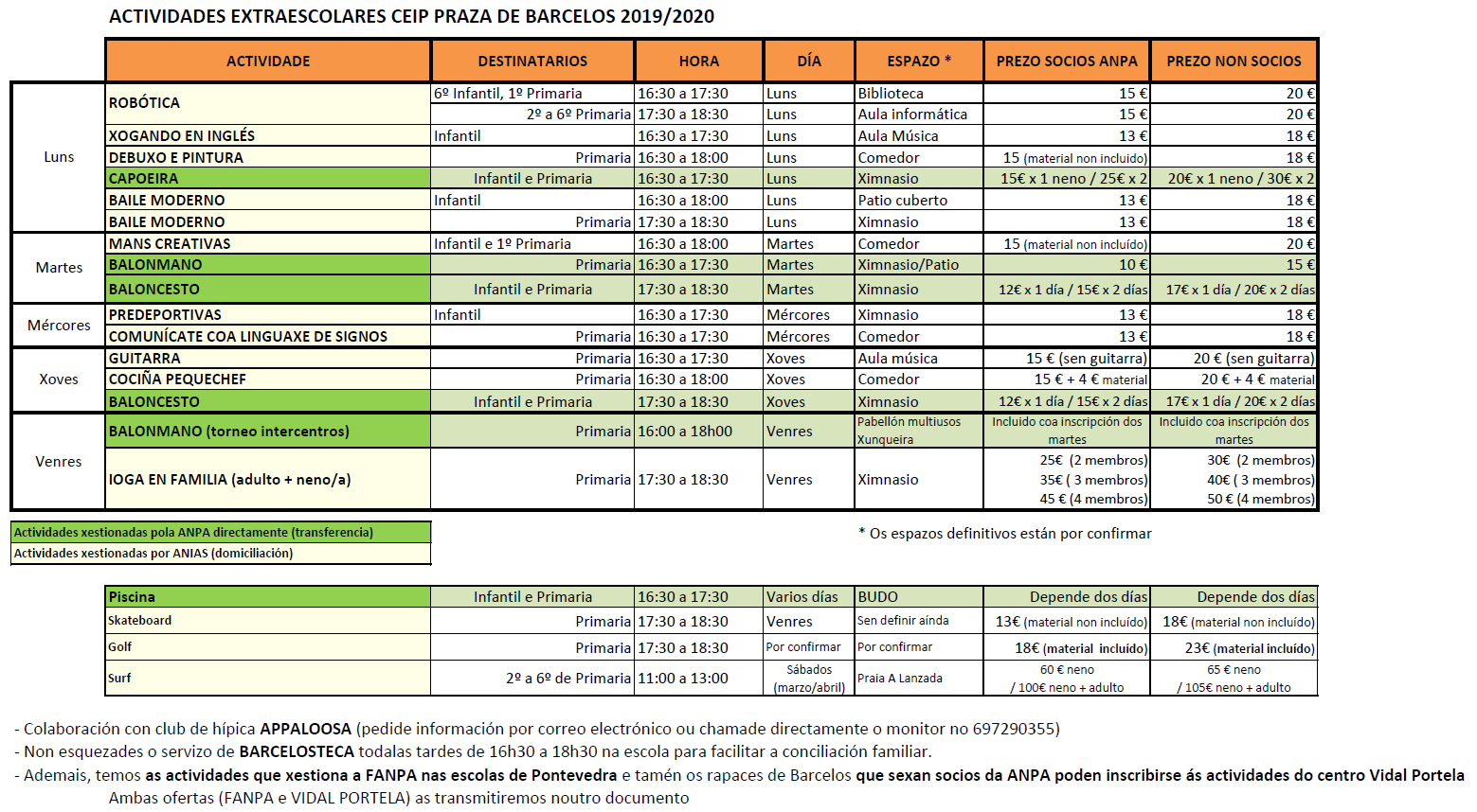 Actividades CEIP Barcelos